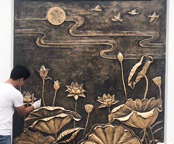Đắp Vẽ tranh hoa sen-KS  Anh Nhân, đường Vân Đồn 4
